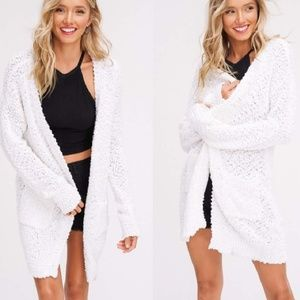 Sweaters - SALE NWT Cozy Long Cardigan Mohair Blend WHITE M L
